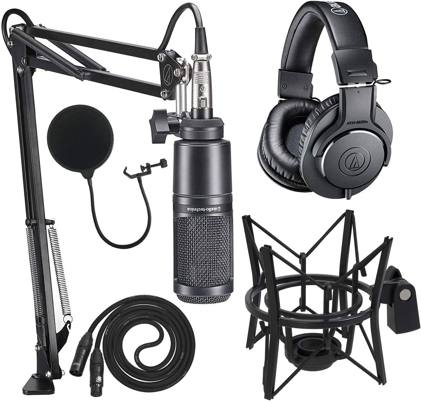 Audio Deluxe Technica AT2020PK Studio New life Microphone Boom with ATH-M20x -