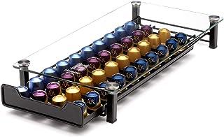 Homiso Porte Dosette de Café - Nespresso Compatible - Rangement pour Capsules de Café, 40x Capsules - Noir et verre