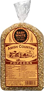 Amish Country Popcorn - 2 Lb Baby White Kernels - Small & Tender Popcorn - With Recipe Guide - Gluten Free, All Natural, Non-GMO, Vegan, Kosher, & Nut Free