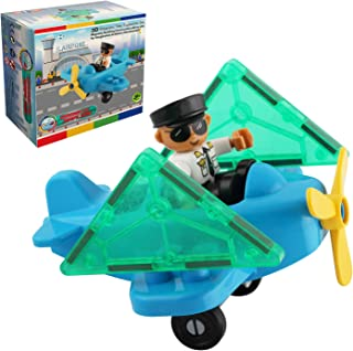 Flying Toy Plane and Pilot Figure Magnetic Tiles Expansion Toys Set – Toy Airplane with Pilot Add on Sets for Magnetic Blocks – Fun and Educational Stem Toys for Boys and Girls