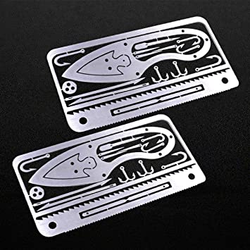 Buspoll Tiny Survival Cards Gear Includes Knife Saw Fish Hooks Arrows And Lures Survival Tool Card For Fishing Camping Father Gift Idea Silver 2pc Amazon Com