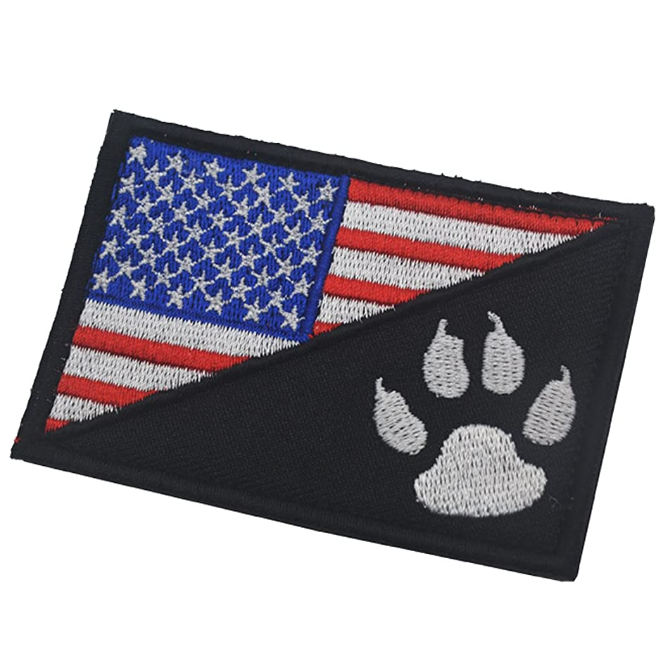Dog Claw/USA American Flag Funny Hook and Loop Fastener Embroidered Military Tactical Morale Patch 3.15
