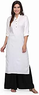 Pret a Porter White Colored Stitched Indian Rayon Kurti With Palazzo
