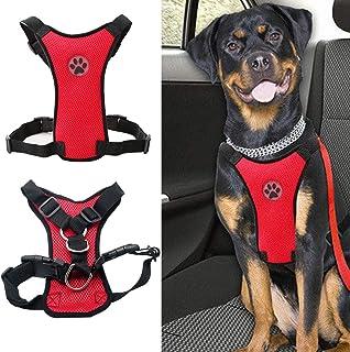 Dog Safety Car Vest Harness - MASO Pet Dog Adjustable Car Mesh Harness Seat Belt Travel Strap Vest with Car Seat Belt Lead...