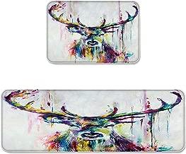 Beauty Decor 2 Piece Non-Slip Kitchen Mat Runner Rug Set Antlers Doormat Area Rugs Abstract Elk Deer Oil Painting 19.7x31.5inch+19.7x47.2inch CXC20180920-BDMTSETSLEO00479MDEBBDR