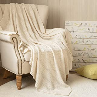 jinchan Throw Blanket Soft Ivory Lightweight Cable Knit Sweater Style Year Round Gift Indoor Outdoor Travel Accent Throw for Sofa Comforter Couch Bed Recliner Living Room Bedroom Decor 50