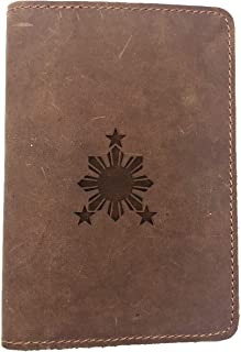 Philippines Sun Flag Comic - Deluxe Full Grain Leather Passport Cover Wallet Case - Handmade With Traditional Craftsmanship - Can Store Two Us Passports
