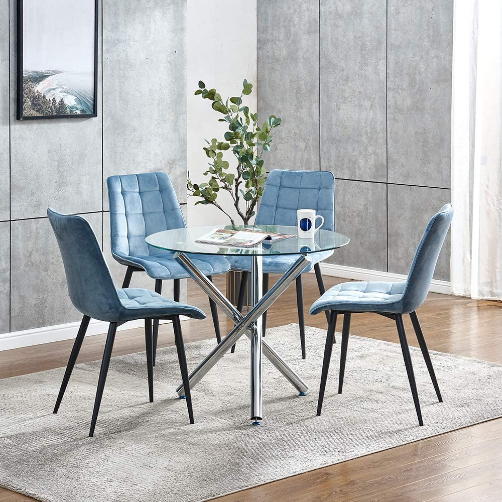 Round Glass Dining Table and 9 Blue Velvet Chairs Set for Small ...