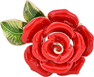 OBONNIE Women Red Blue Enamel Rose Brooch Pin Flower Bud with Green Leaf Bouquet Wedding Party Jewelry