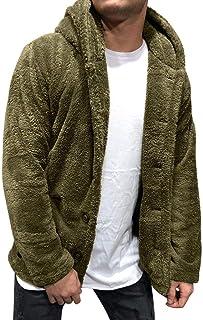 SANFASHION Coat Cardigan Felpato Tinta Unita per Uomo Camicetta Casual Felpe Top Nuovi Cappotti Moda Giacca a Maniche Lung...
