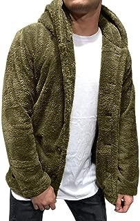 TIFENNY Plush Cardigan Long Sleeve Hooded Men's Autumn Winter Solid Color Cardigan Casual Blouse Fleece Tops Coat Outwear