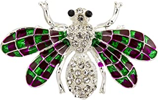 Silver Bee with Swarovski and Green Purple Abstract Wings Brooch