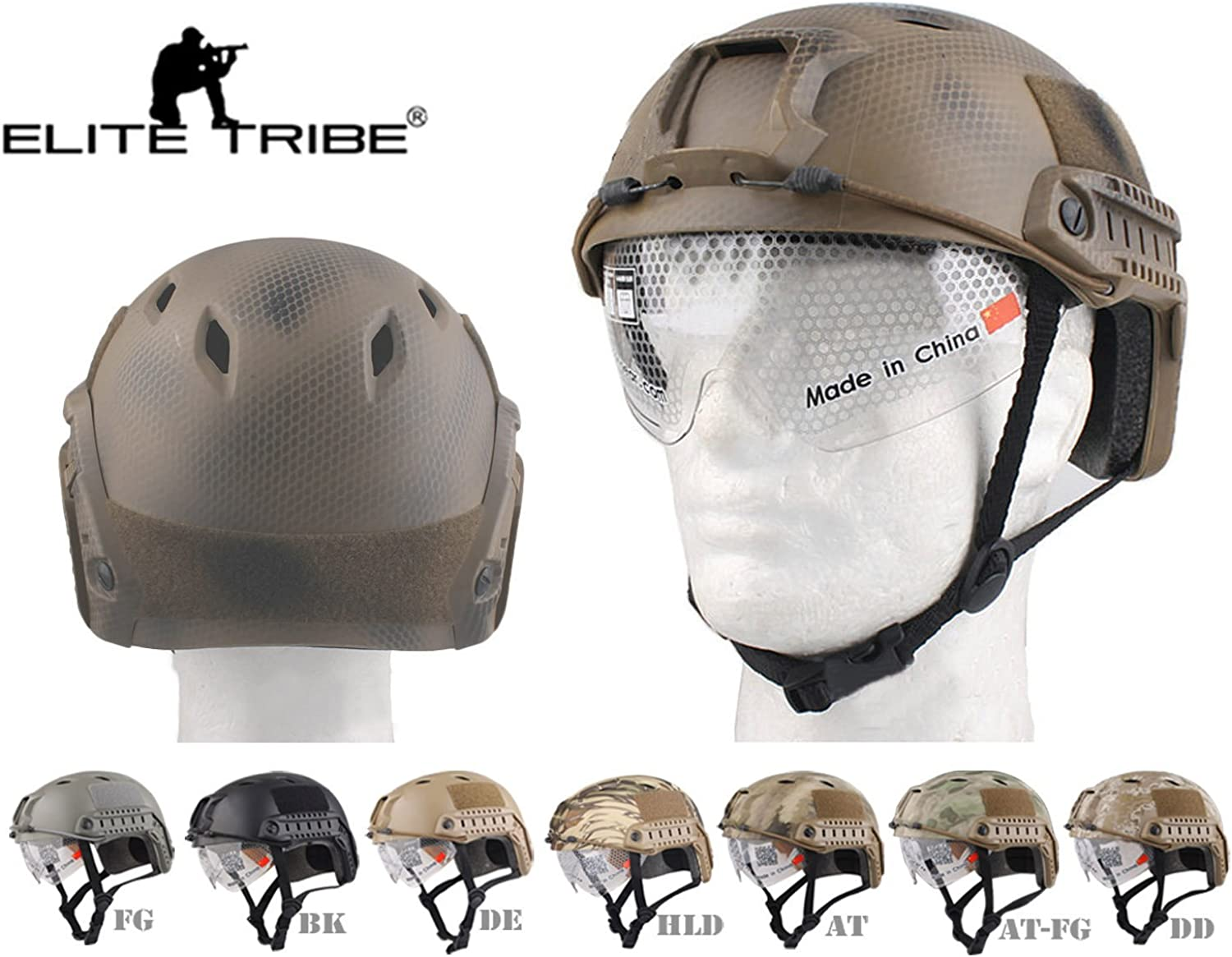 Fast Helmet with Predective Goggle BJ ABS Tactical Military Airsoft Helmet