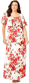 Roamans Women's Plus Size Ruffle Maxi Dress