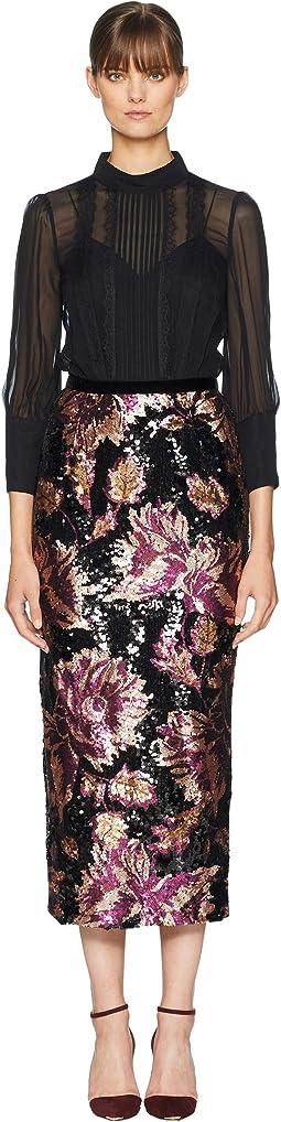 3/4 Sleeve Twofer Chiffon Blouse w/ Sequin Skirt