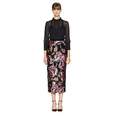 Marchesa Notte 3/4 Sleeve Twofer Chiffon Blouse w/ Sequin Skirt (Black) Women