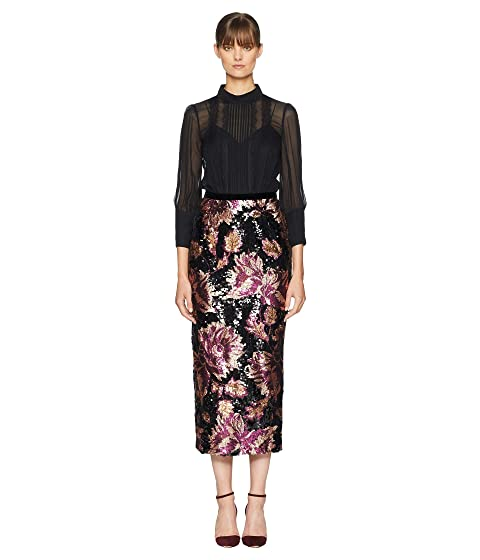 Marchesa Notte 3/4 Sleeve Twofer Chiffon Blouse w/ Sequin Skirt
