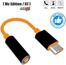 FASTX OG Compatible USB-Type C to 3.5 mm Stereo Earphone Audio Aux Jack Music Converter Adapter for oneplus Mclaren Edition 6T 7 and More Devices -Orange and Black. (Audio Jack 3.5mm)