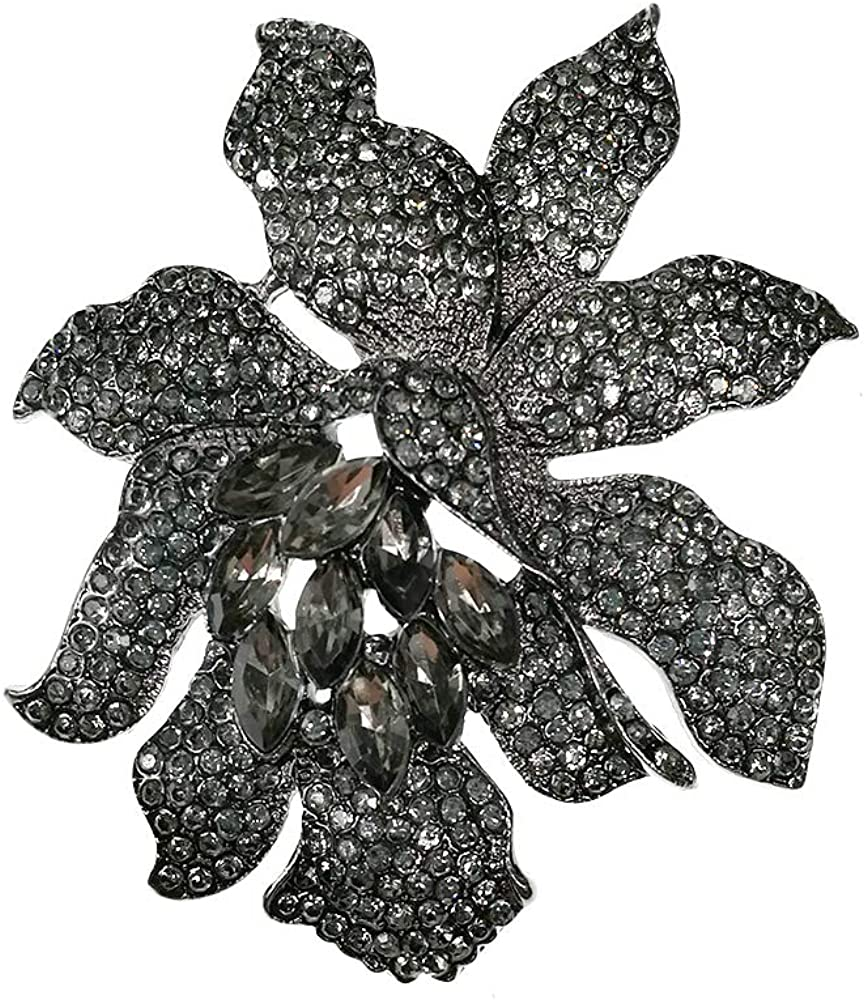 Fashion Women Jewelry Rhinestone Orchid Brooch
