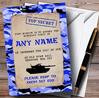 Blue Army Soldier Camouflage Childrens Birthday Party Invitations