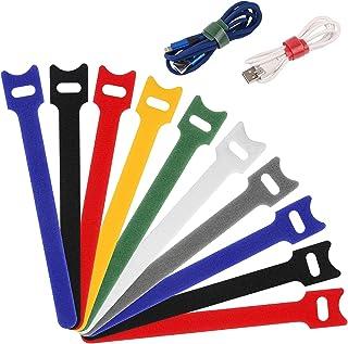 URAQT Klittenband Kabelbinders, 70 Stuks Kabel Kabelbinders, Herbruikbare Cable Ties, Scheurvaste Hooks & Loops Tape voor ...