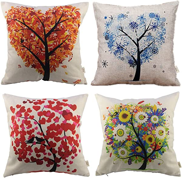HOSL P71 4 Pack Cotton Linen Sofa Home Decor Design Throw Pillow Case Cushion Covers Square 17 5 Inch Set Of 4 Tree Series