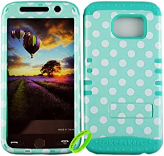 Cellphone Trendz Dual Layer Soft Hard Hybrid High Impact Protective Case Cover for Samsung Galaxy S6 G920 - White Polka Dots On Mint Blue Design Hard Case on Mint Blue Skin