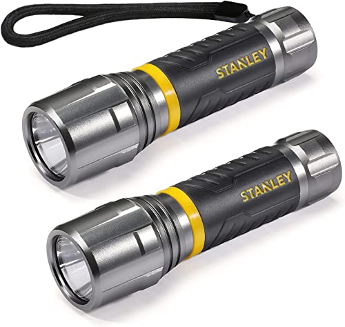high quality STANLEY 2 Pack Handheld outlet online sale Flashlight with Lanyard, 3 Modes Ultra Bright LED Torch Aluminum-crafted Waterproof discount IPX4, 8H Working Time, 3AAA Alkaline Battery Included online