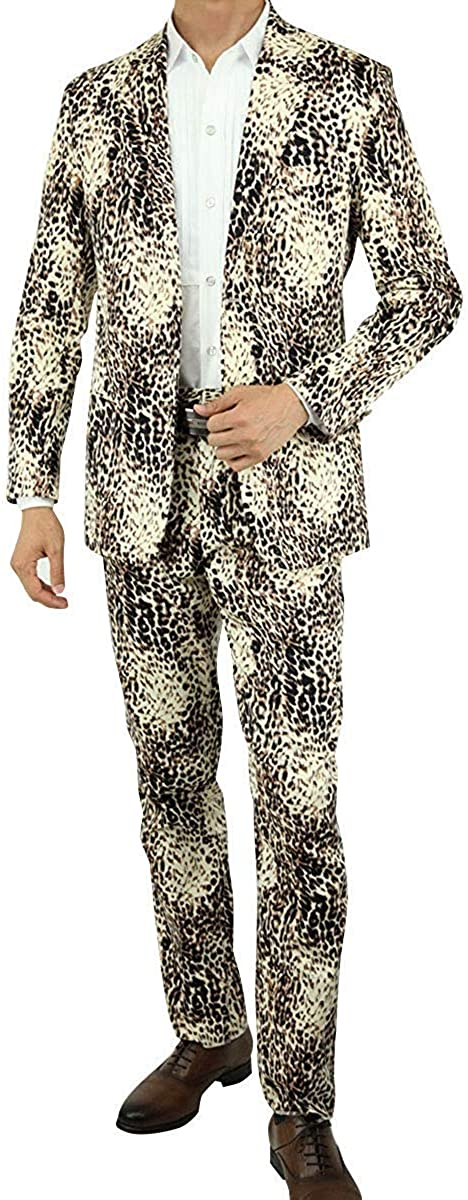 Wonder Stage Men's Slim Fit 2 Pc Leopard Print Suits Jacket Pants