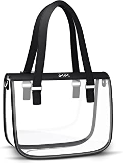 Stylish Clear Bag for Women - PGA and NFL Stadium Approved Transparent Purse for Football Games, Work or School - Heavy Duty, See Through Shoulder Bag, Handbag, Bookbag Tote