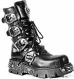 New Rock NEWROCK 391 Black Metallic Reactor Goth Biker Unisex Negro Boots