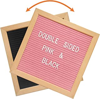 Double Sided Felt Letter Board - 10x10 Black Pink DIY Changeable Message Sign, Kids Teen Girls Boys Birthday Gift, First Day Back to School Dorm Decoration, Kindergarten Preschool Teaching Props