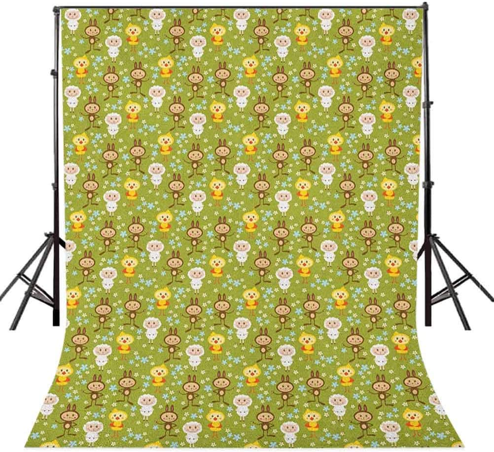 8x12 FT Doodle Vinyl Photography Background Backdrops,Cartoon Style Farm Animals Sheep Rabbits and Chickens on Flowering Meadow in Spring Background Newborn Baby Portrait Photo Studio Photobooth Props