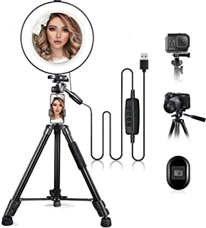 """10"""" Ring Light with Stand and Phone Holder, HQOON Upgraded LED Selfie Ringlight with 52"""" Extendable Tripod Stand for Makeu..."""