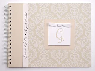 Wedding Anniversary Journal - Personalized Gift for Newlyweds (4 Center Designs) - Tan Damask