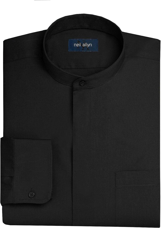NEIL ALLYN Men's Black Banded Collar Dress Shirt-L