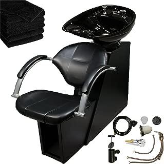 LCL Beauty Professional Adjustable Ceramic Shampoo Backwash Station (Black Bowl)