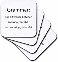 3dRose CST_107347_2 Grammar The Difference Between Knowing Your Shit and Knowing Youre Shit-Soft Coasters, Set of 8