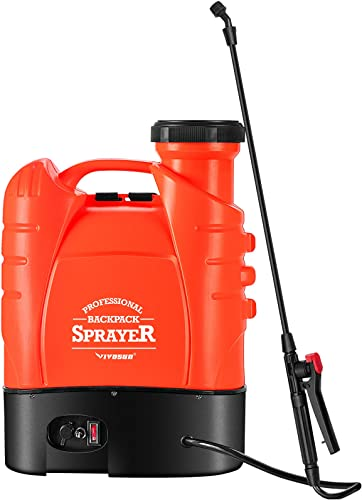 new arrival VIVOSUN popular 4 Gallon Battery Powered Backpack Sprayer Electric sale Pump Sprayer with Four Nozzles for Garden Lawn, Orange online