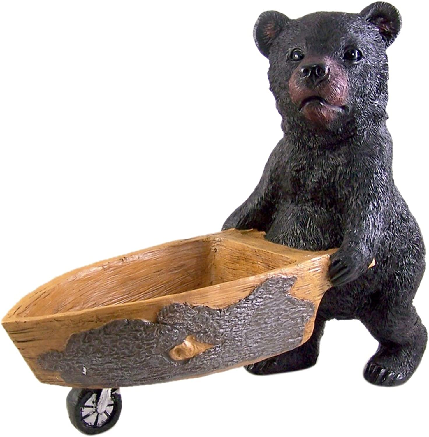 Black Bear Pushing Wheelbarrow Statue 13 1 4 Inch