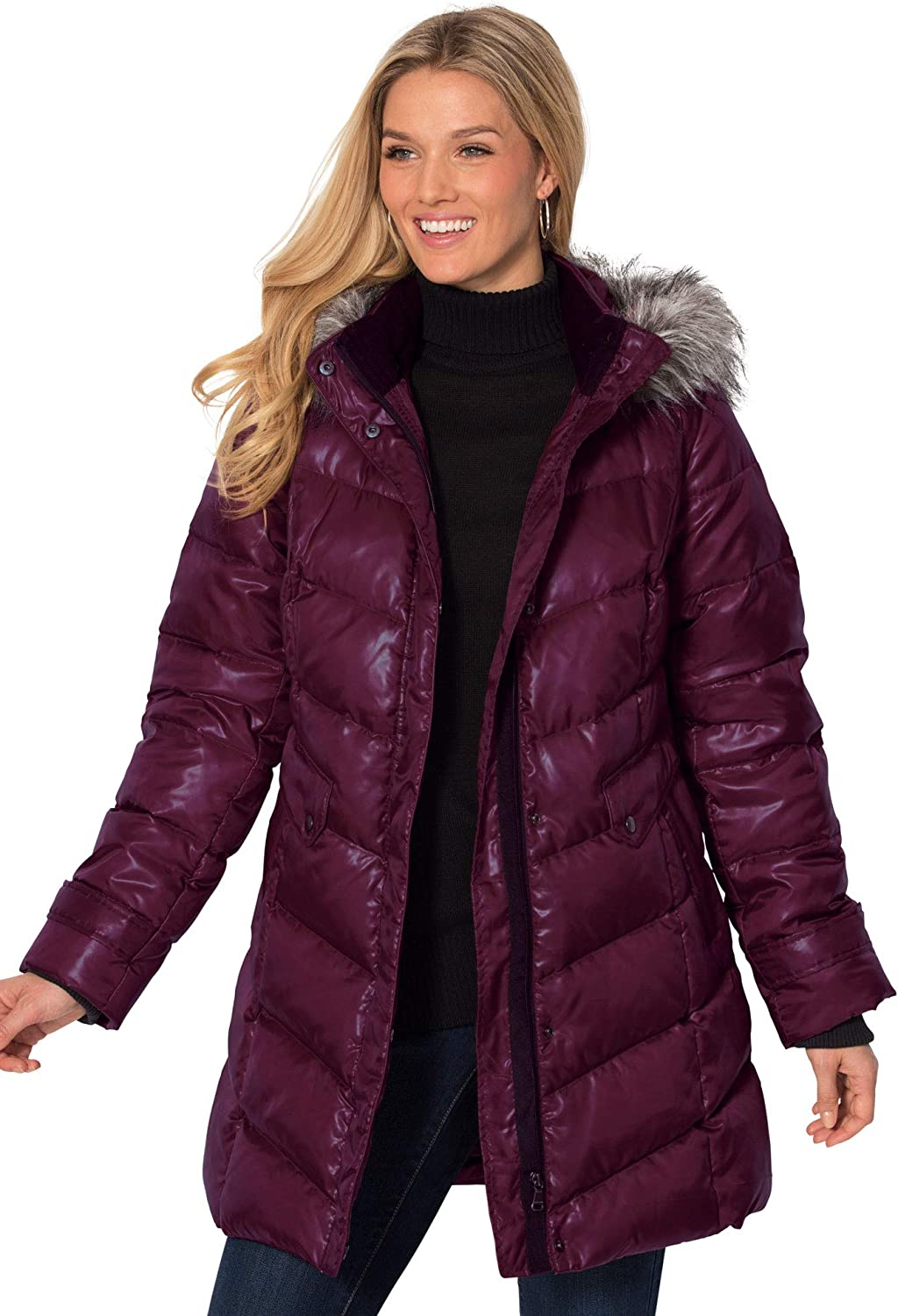 Woman Within Women's Plus Size Hooded Down Fill Puffer Jacket Jacket