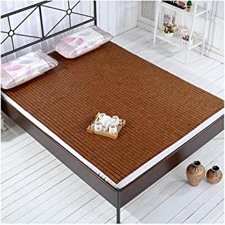 Bamboo Cool Sleeping Mat Mattress Pad Cushion Smooth Air-Conditioned Bed Mat Fold with Ice Silk Pillowcases Home Student Dormitory (Color : A, Size : 200x220cm)