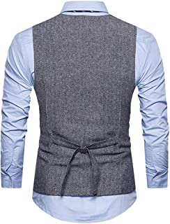 Pingtr Men's Business Casual Waistcoat Slim Fit V Neck Double Breasted Tweed Suit Vest