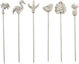 Cocktail Picks or Martini Picks, Set of 6 Stainless Steel Reusable Toothpicks for Drinks or Bloody Mary Skewers, Garnish S...