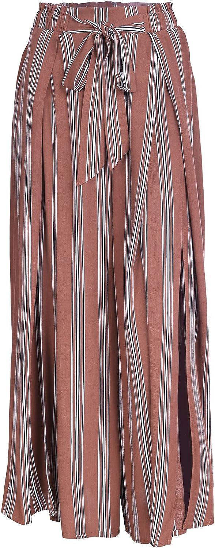 Simplee Womens Elegant Striped Split High Waisted Belted Flowy Wide Leg Pants