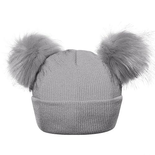 mioim Boys Girls Bobble Knit Beanie Hat Faux Raccoon Double Fur Pompom Cap  Toddlers Skulliers 1 e73b7fe1025