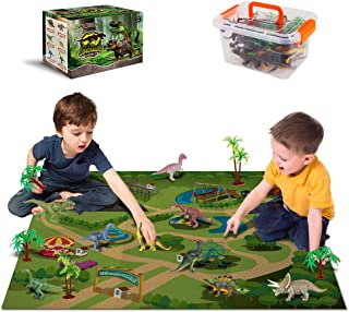 Dinosaur Toys - 12 Realistic Dinosaur Figures, Activity Kids Play Mat & Trees for Creating a Dino World Including T-Rex, Triceratops, etc, Perfect Dinosaur Gifts for Boy & Girl 3,4,5,6,7,8 Years Old