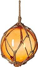 Hampton Nautical Orange Japanese Glass Ball Fishing Float with Brown Netting Decoration 2