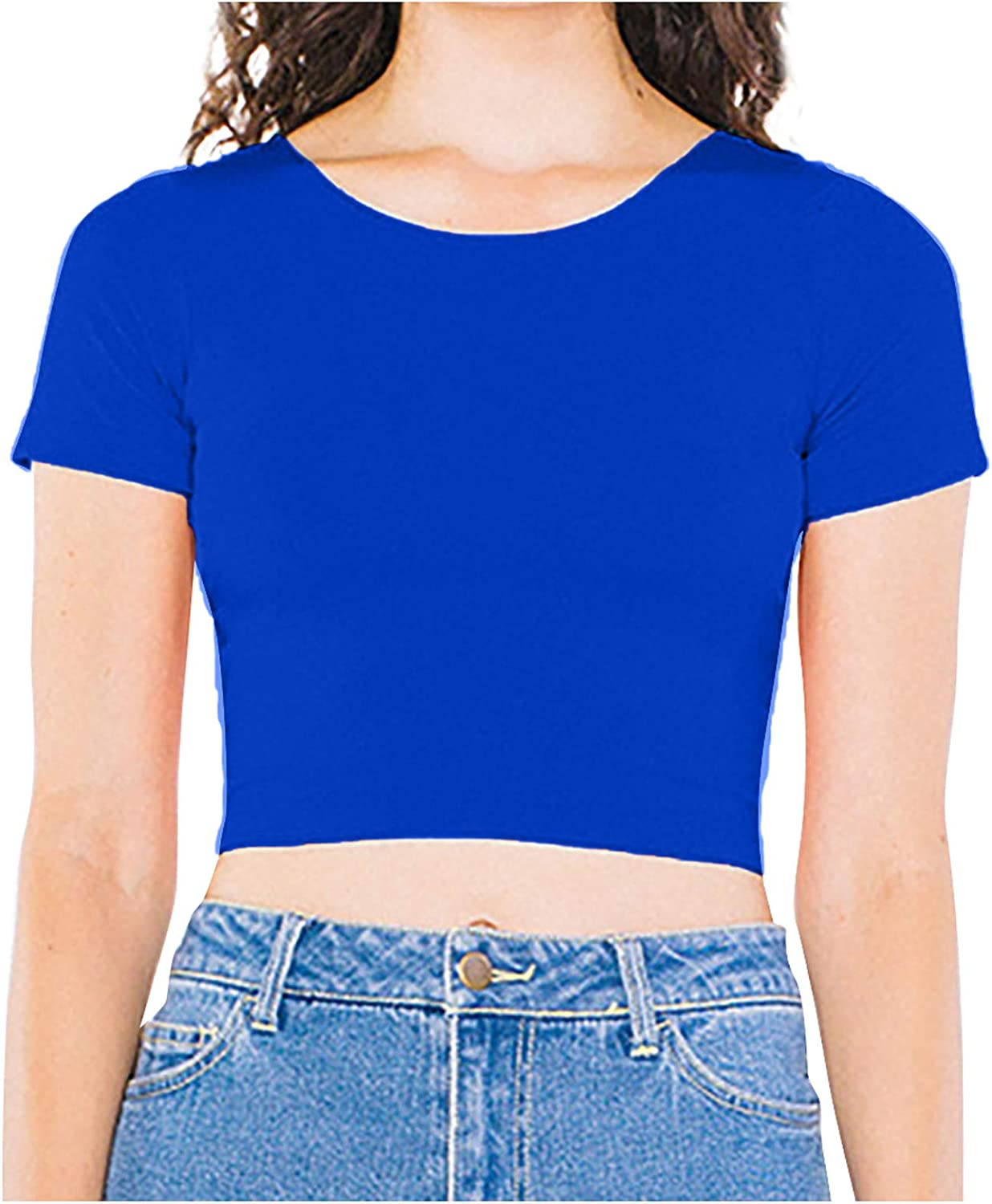 Women's Short Sleeve T-Shirt Sexy Round Neck Solid Navel Slim Fit Fashion Casual Crop Tops T-Shirt Blouse