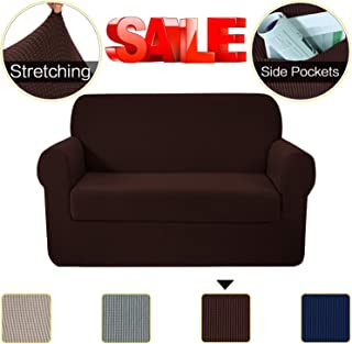 2-Piece Stretch Sofa Covers with Side Pockets, Loveseat Cover Furniture Protector Featuring Jacquqard Textured Twill Fabric, 2 Seater Cushion Couch Cover Coat for Living Room(2 Seater Loveseat, Brown)